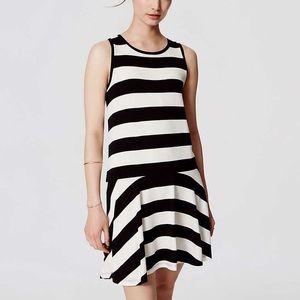 Loft Black and White Striped Drop Waist Dress